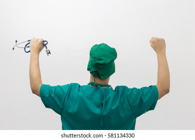 Doctor celebrating with a stethoscope