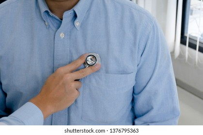 Doctor check body by stethoscope