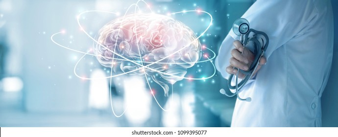 Doctor checking brain testing result with computer interface, Abstract. Innovative technology in science and medicine concept