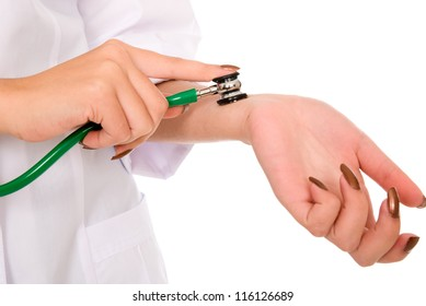 Doctor checks himself stethoscope.isolated on white
