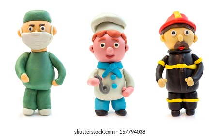 The doctor, a chef, firefighter made of clay
