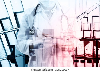 doctor or chemist with pen writing down observations in laboratory with test tube in rack Double exposure style.Laboratory research concept
