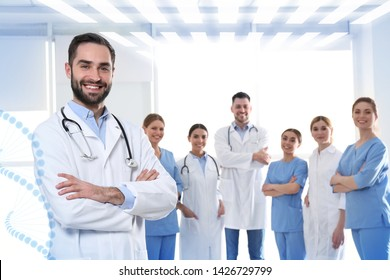 Doctor with colleagues in clinic. Medical service
