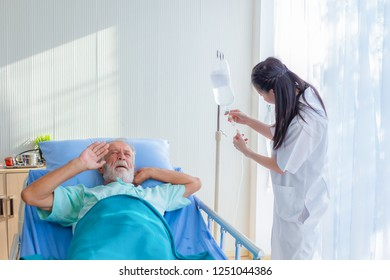 The doctor is diagnosing the patient on the bed - Shutterstock ID 1251044386