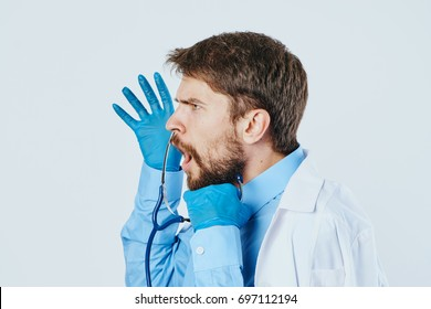 Doctor disgruntled man works in the hospital