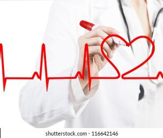 Doctor drawing a heart beats ECG
