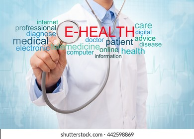 Doctor with e-health word cloud. medical concept