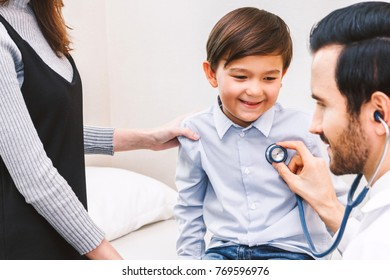 Doctor examination little boy with stethoscope  in hospital.healthcare and medicine