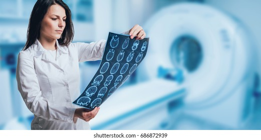 Doctor examine MRI picture. Medical equipment.