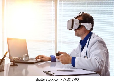 Doctor examining with 3d content with virtual reality glasses at his workplace. Horizontal composition.