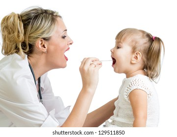 doctor examining baby girl isolated