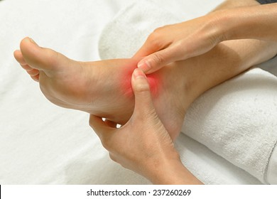 Doctor examining an injured foot,sport injury