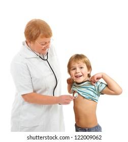 doctor examining little boy isolated on white background