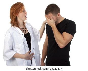 Doctor examining a patient against a white background