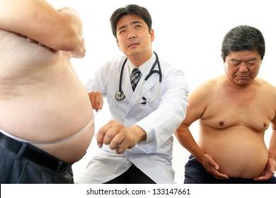 Doctor examining patients