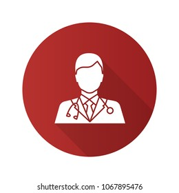 Doctor flat design long shadow glyph icon. Medical worker. Practitioner. Raster silhouette illustration