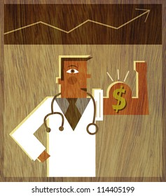 A doctor flexing his arm muscle with a dollar sign on it and a graph above his head