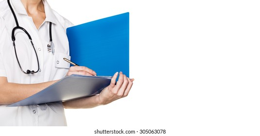 Doctor with folder isolated on white background