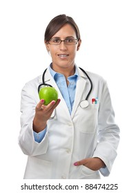 Doctor giving an apple to a patient as a perfect healthy eating example