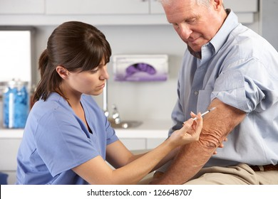 Doctor Giving Male Patient Injection