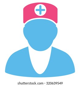 Doctor glyph icon. Style is bicolor flat symbol, pink and blue colors, rounded angles, white background.