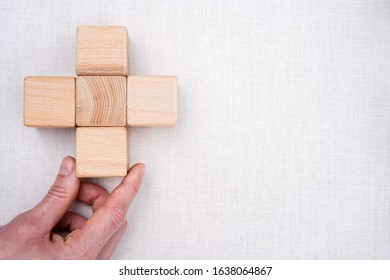 Doctor hand arranging wood block stacking healthcare medical field.