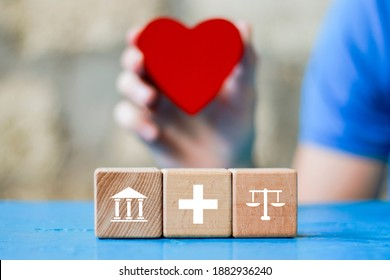 Doctor hand arranging wood block stacking with icon justice healthcare Labor Law Lawyer. Legal Concept medical. - Shutterstock ID 1882936240