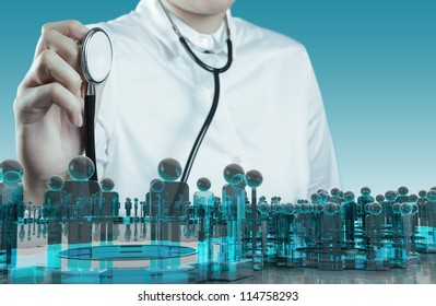 Doctor hand with a stethoscope and human sign social