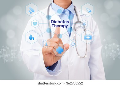 Doctor hand touching diabetes therapy sign on virtual screen. medical concept
