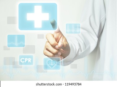 Doctor hand touching first aid sign on virtual screen