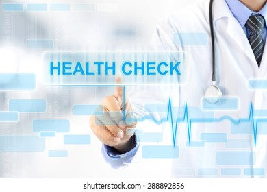 Doctor hand touching HEALTH CHECK sign on virtual screen
