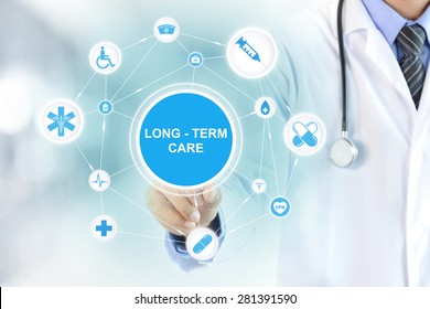 Doctor hand touching LONG TERM CARE sign on virtual screen
