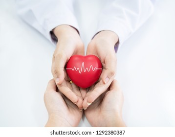 Doctor hands holding red heart, health care concept.