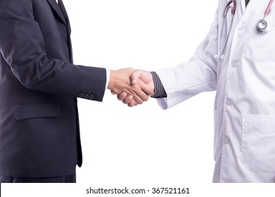 doctor handshake with a patient isolated on white background : With Clipping Path