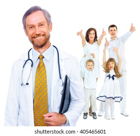 doctor and happy family