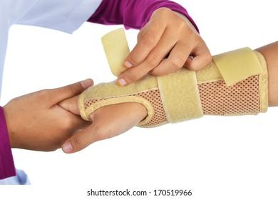doctor heals the patients broken hand