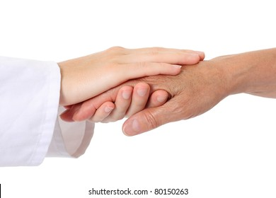 Doctor helping senior holding hand