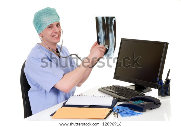 Doctor at his desk, checking patient data, x ray,  white background,  studio shot.