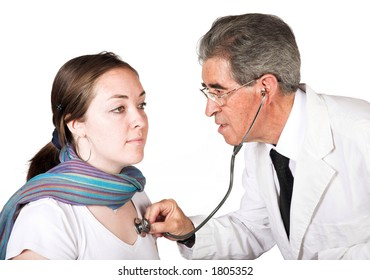 doctor and his patient over white