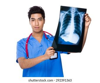 Doctor hold with x ray film