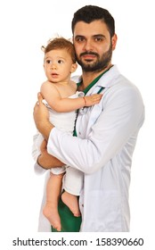 Doctor holding baby boy isolated on white background