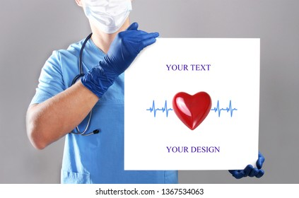 Doctor holding blank banner with mock up.