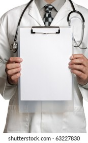 Doctor holding blank sign on a clipboard ready to add your message