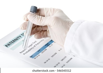 Doctor holding buccal swab in test tube on paternity DNA test result chart form