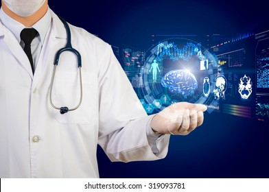 doctor holding glow hi-tech healthcare interface