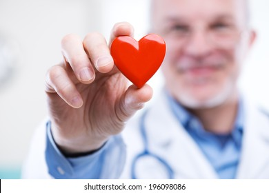 Doctor holding an heart, cardiologist and cardiovascular diseases concept.