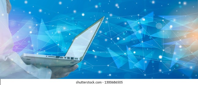 Doctor holding laptop, behind bright on blue background,and Futuristic abstract illuminate line and dot wireless connection and wave with triangle, banner horizontal headline for web