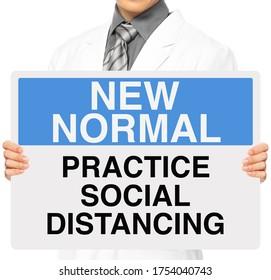 Un médico con una señal de advertencia médica