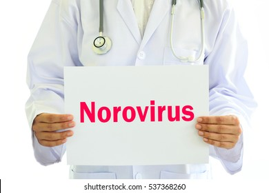 Doctor holding Norovirus card in hands