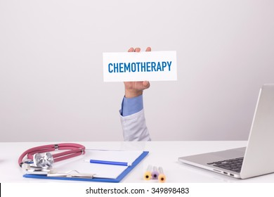 Doctor Holding Placard written CHEMOTHERAPY